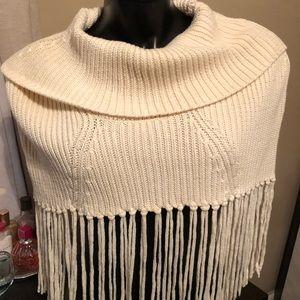 BCBG crop fringe cowl shawl sweater top S M
